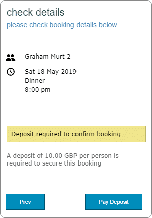 Deposit Required Info