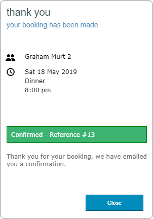 Success! Reservation Confirmed